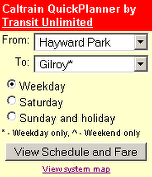 caltrain trip planner on city go round