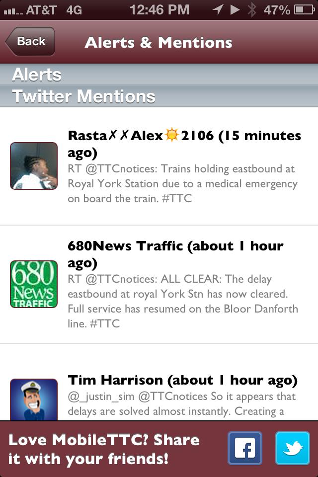 MobileTTC - The Toronto TTC App on City-Go-Round